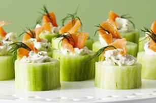 Rondelles de concombre au saumon fum hors d 39 oeuvre kraft for Hors d oeuvre avec saumon fume