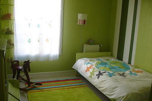 chambre enfant vert et gris